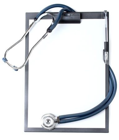 stethoscope and black clipboard isolated on white photo