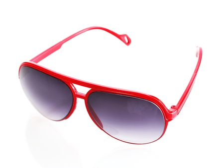 Women glamorous red sunglasses isolated on white photo