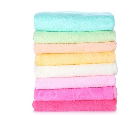 bright towels isolated on white Stock Photo - 13374270
