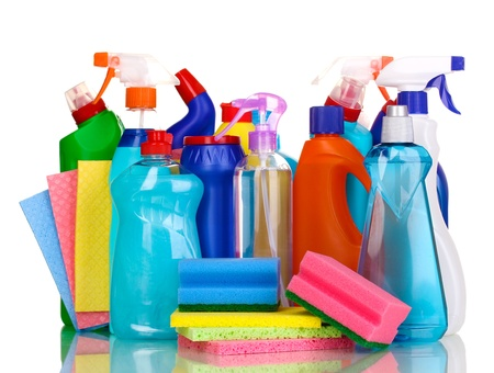 sterilize: Cleaning items isolated on white