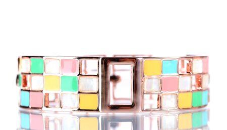 Beautiful golden bracelet isolated on white photo