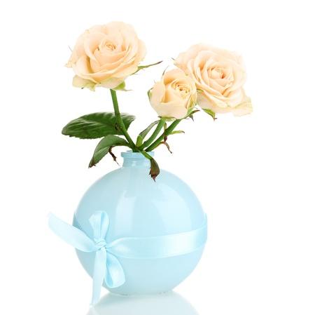 Beautiful roses in vase isolated on white Stock Photo - 13375019