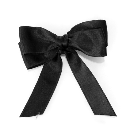 black silk: black ribbon bow isolated on white