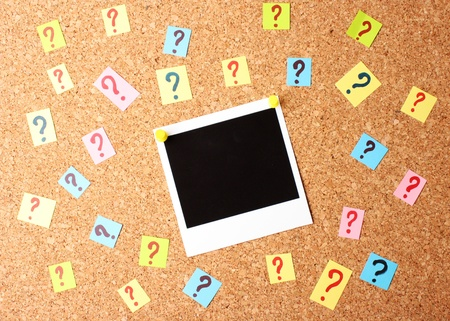 Photo with question marks cork board Stock Photo - 13373686