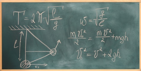 formulas written on green chalkboard photo