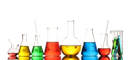 Different laboratory glassware with color liquid and with reflection isolated on white Stock Photo - 13435079