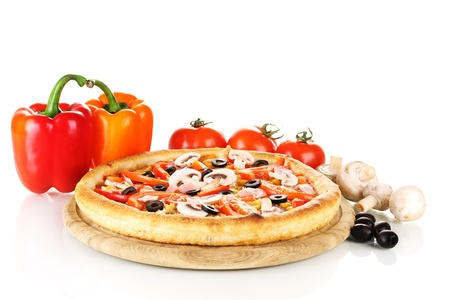 Aromatic pizza with vegetables and mushrooms isolated on white Stock Photo - 13435531