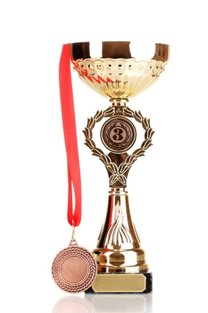 Trophy cup and medal isolated on white Stock Photo - 13435516