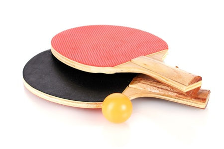 ping-pong rackets and ball, isolated on white photo