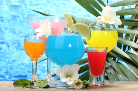 exotic cocktails and flowers on table on blue sea background Stock Photo - 13435750