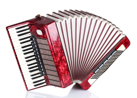 Retro accordion isolated on white photo