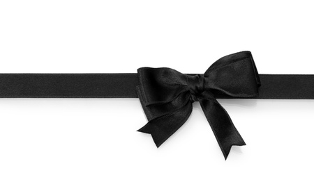 black silk: black bow on ribbon isolated on white Stock Photo