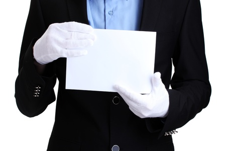 man holding blank paper isolated on white photo