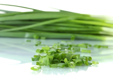Green onion isolated on white close-up photo