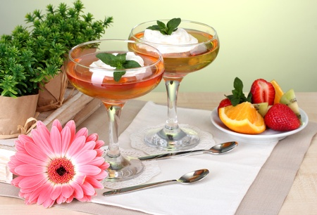 fruit jelly in glasses and fruits on table in cafe Stock Photo - 13435826