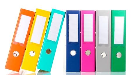 folders: Carpetas de oficina aislado en blanco
