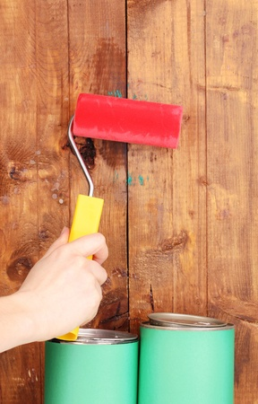 Painting wooden fence Stock Photo - 13514647