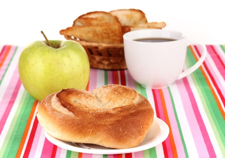 Classical breakfast. Coffee and bun photo