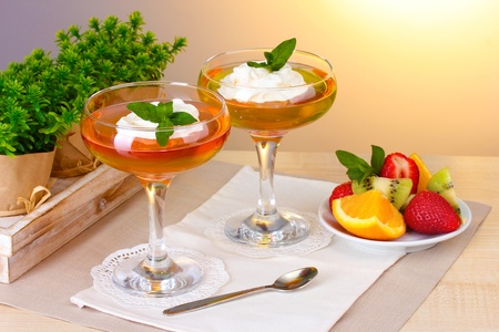 fruit jelly in glasses and fruits on table in cafe Stock Photo - 13514807