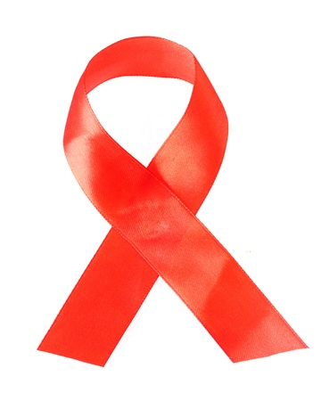 silk ribbon: Aids awareness red ribbon isolated on white