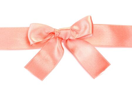 beautiful orange satin bow and ribbon isolated on white  Stock Photo - 13517569