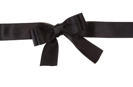 ruban noir: papillon noir sur ruban isolé sur blanc