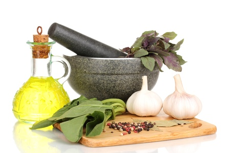 Set of ingredients and spice for cooking isolated on white Stock Photo - 13580353