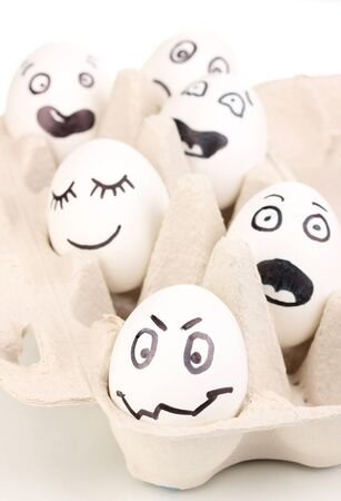 White eggs with funny faces Stock Photo - 13580492