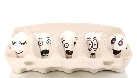 satisfy: White eggs with funny faces