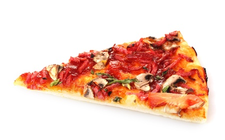 tasty slice of pizza isolated on white Stock Photo - 13581358