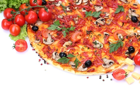 delicious pizza and vegetables isolated on white Stock Photo - 13580065