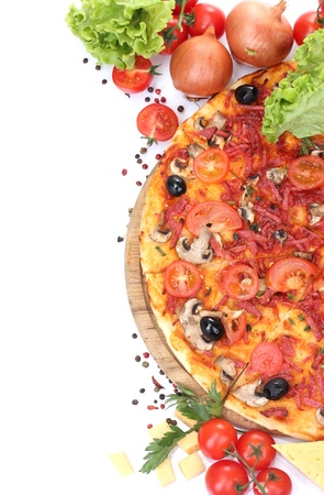 cheese pizza: delicious pizza, vegetables and salami isolated on white