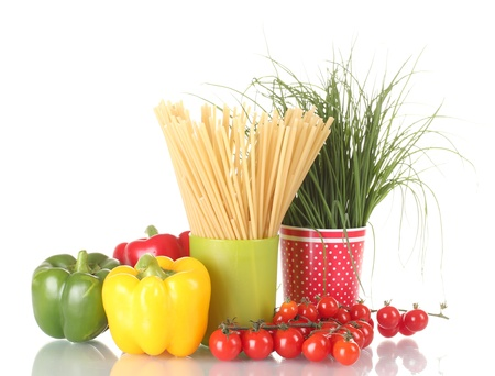 green onion and spaghetti in cups, paprika and tomatoes cherry isolated on white Stock Photo - 13581396