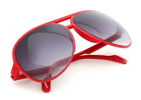 sunglass: Women glamorous red sunglasses isolated on white