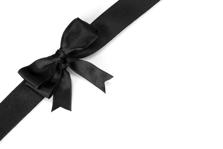 black ribbon bow: black bow on ribbon isolated on white Stock Photo