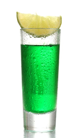 glass of absinthe and lime isolated on white Stock Photo - 13581327