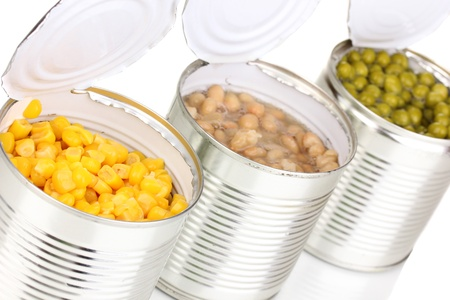 Open tin cans of corn, beans and peas isolated on white Stock Photo - 13580289