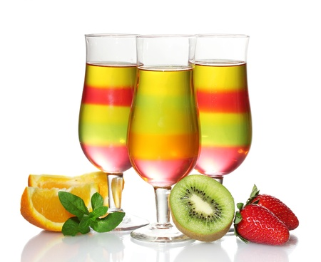 fruit jelly in glasses and fruits isolated on white Stock Photo - 13581329