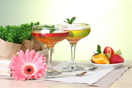fruit jelly in glasses and fruits on table in cafe Stock Photo - 13580201