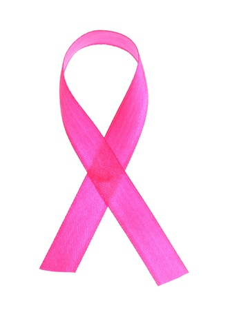 Pink breast cancer ribbon isolated on white Stock Photo