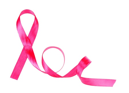 cancer woman: Pink breast cancer ribbon isolated on white Stock Photo