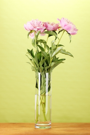 Three pink peonies in vase on wooden table on green background photo