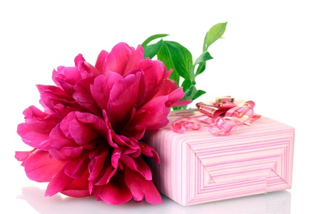 beautirul pink gift and peony flower isolated on white photo