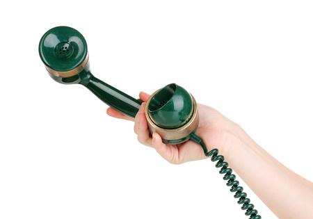 dialplate: Handset of retro phone in hand isolated on white