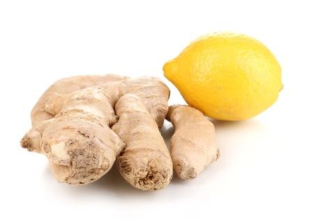 Ginger with lemon isolated on white photo