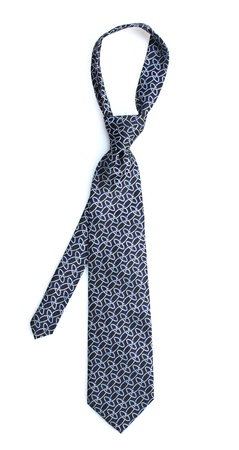 Elegant blue tie isolated on white photo
