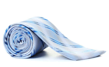 Blue rolled tie isolated on white