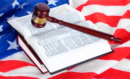judge gavel and books on american flag background Stock Photo - 13666848