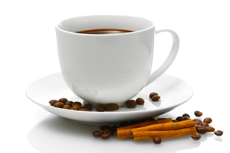 cup of coffee, beans and cinnamon sticks isolated on white photo