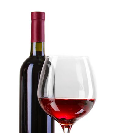 claret: Bottle of great wine and wineglass isolated on white Stock Photo